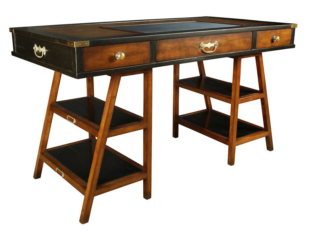 Antique wooden navigator writing desks in black