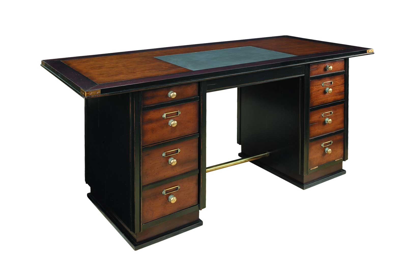 Elegant black captain writing desks with six drawers