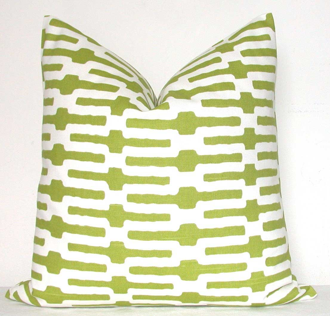 Green white ornamental pillow covers for couch