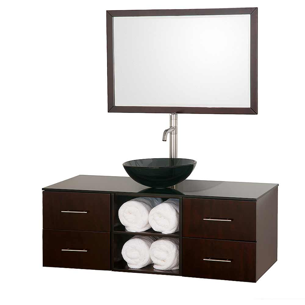Wyndham Abba Contemporary Bathroom Vanity in Coffee Finish