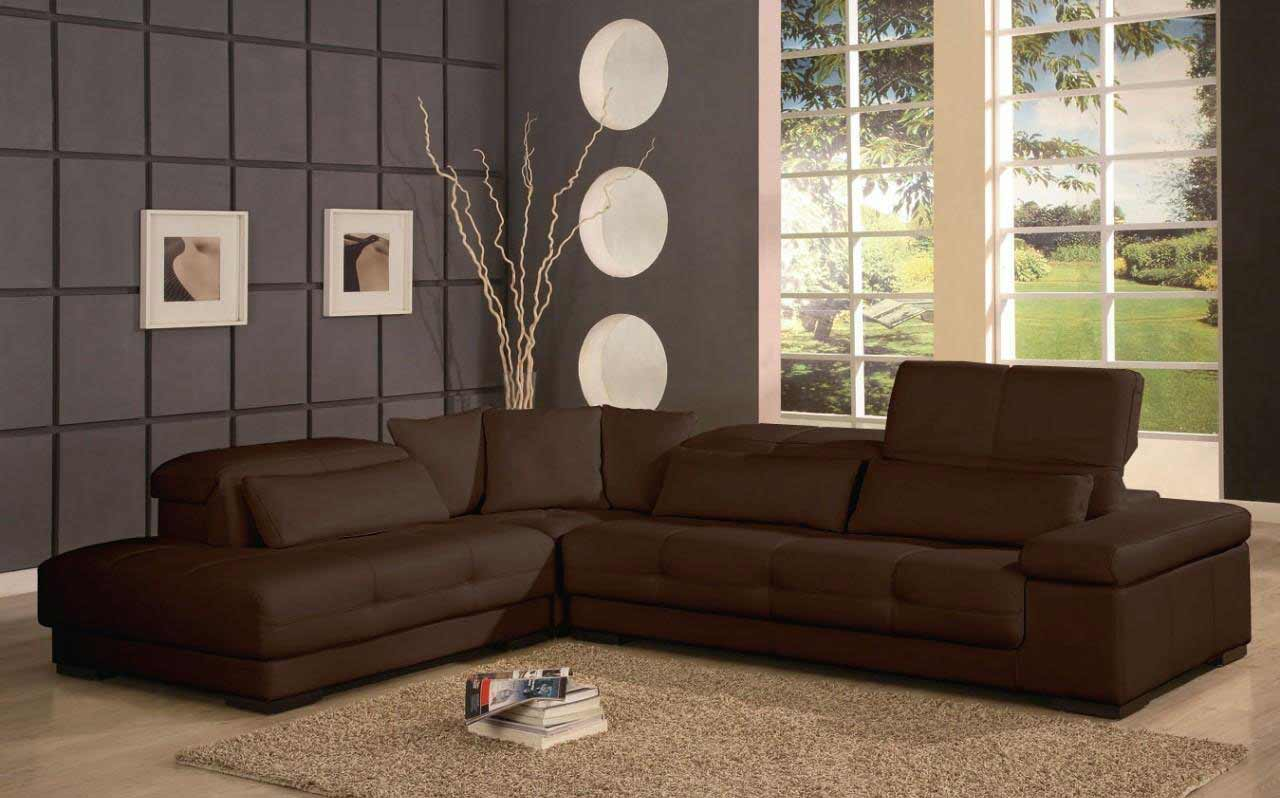 Affordable contemporary furniture for home for Dark brown sofa living room ideas