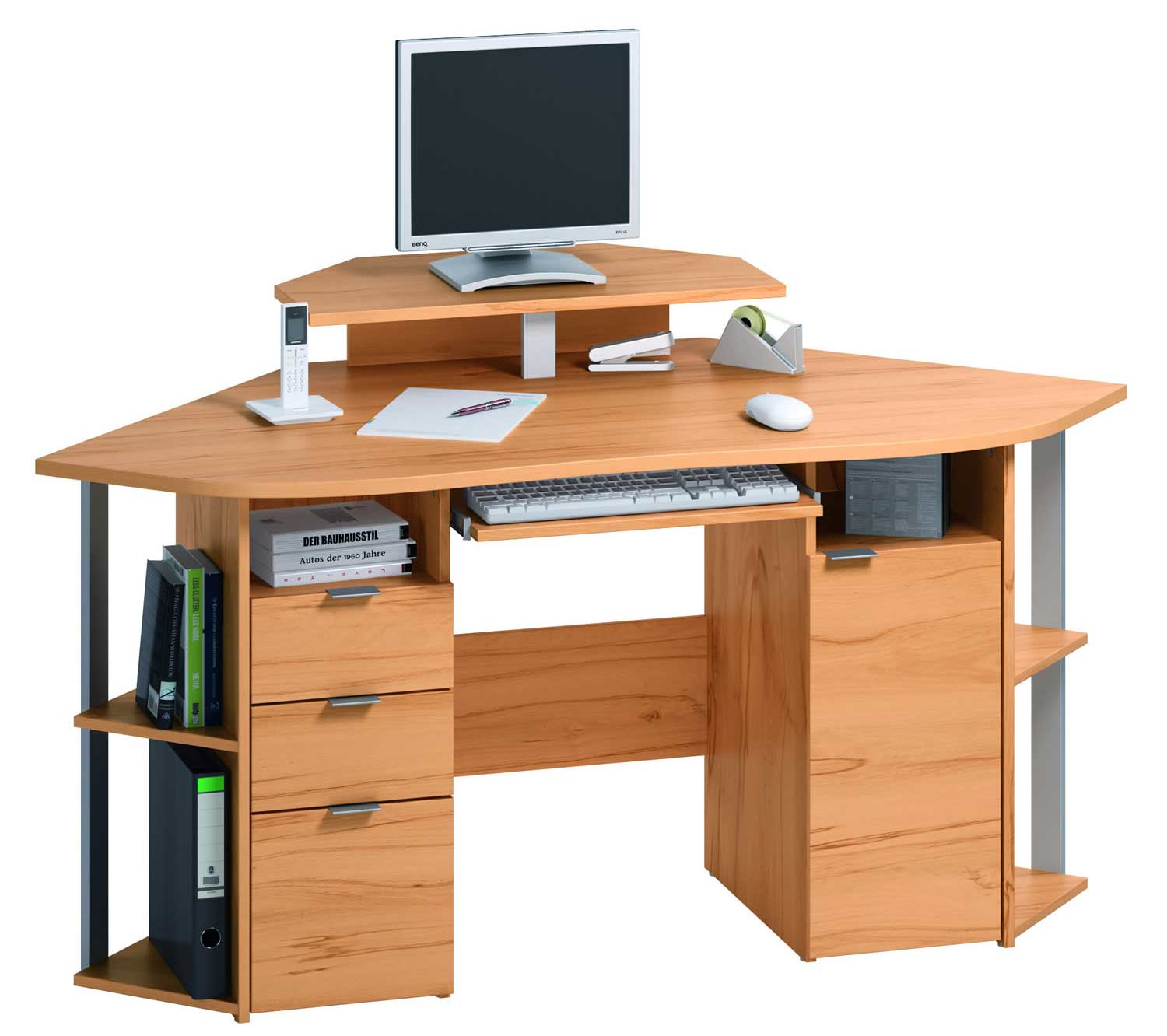 wooden corner computer workstation for home