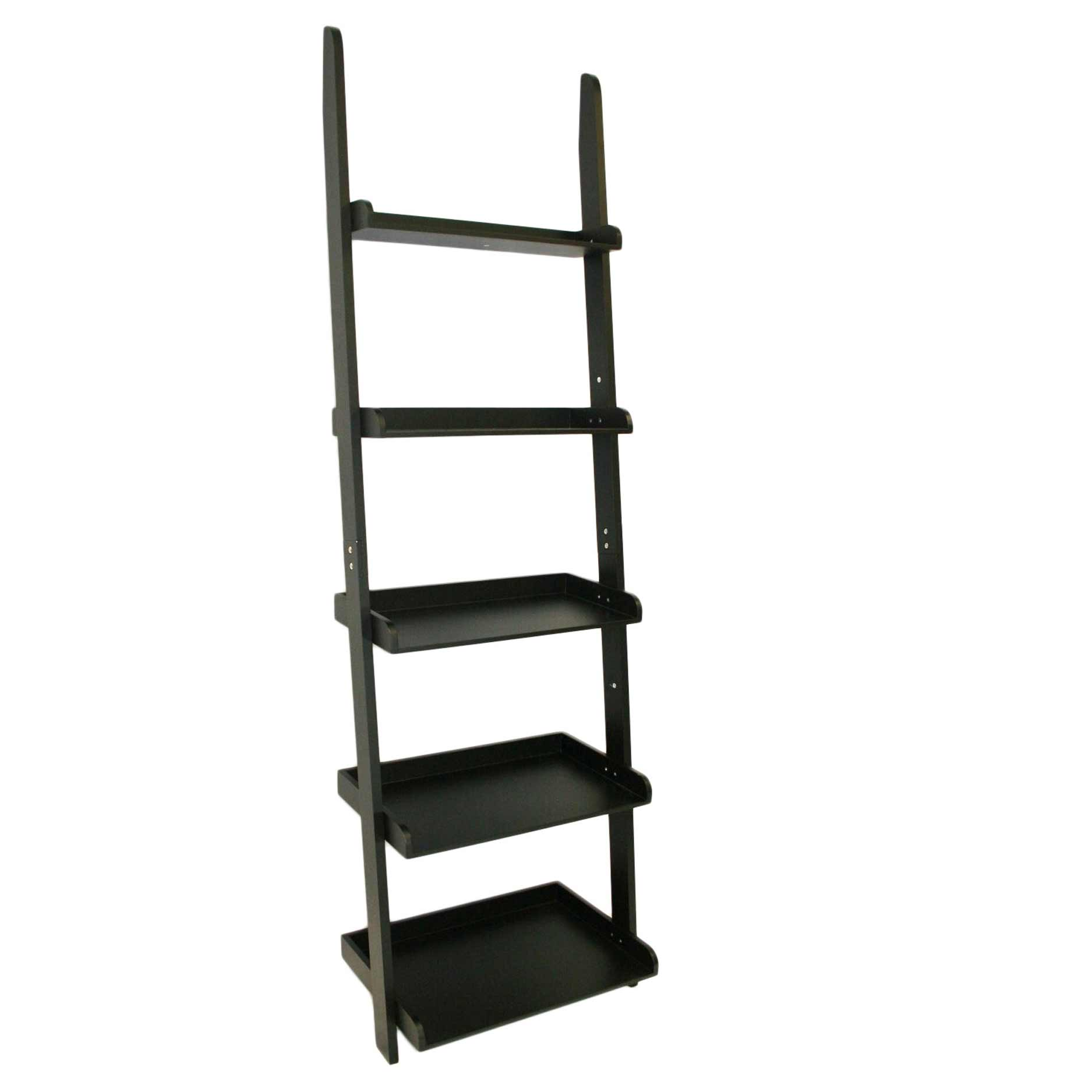 5 tier black leaning ladder wall shelf