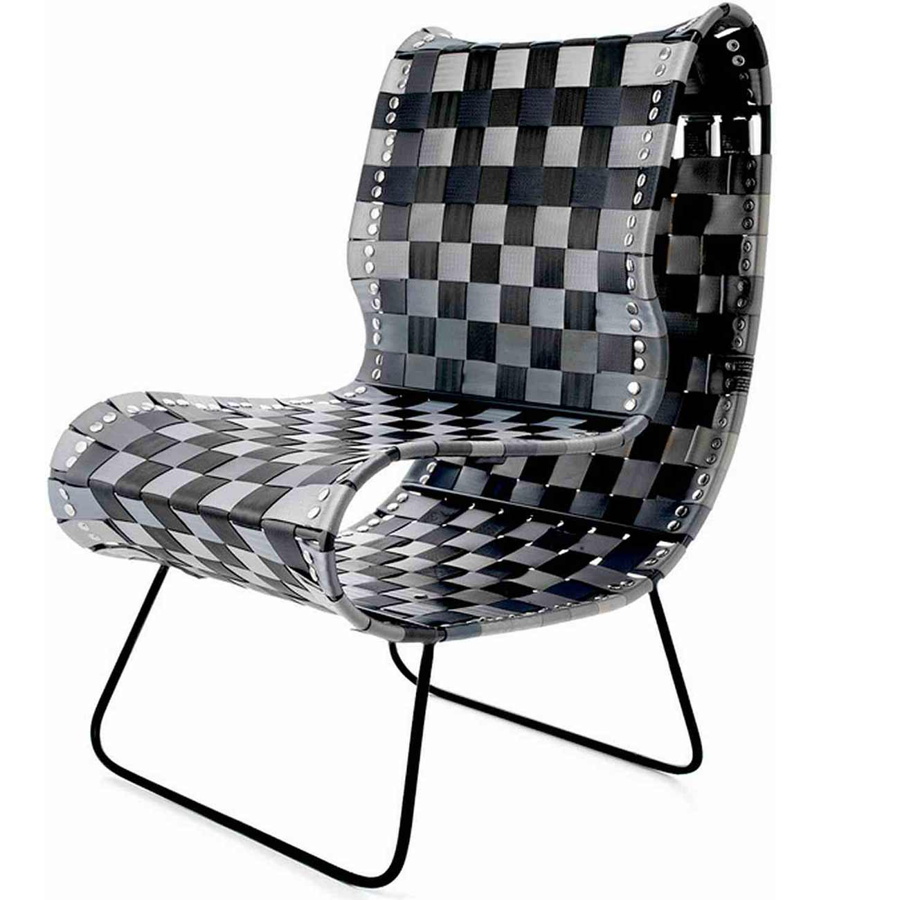 Adam Barron stylish black and white outdoor armless chair
