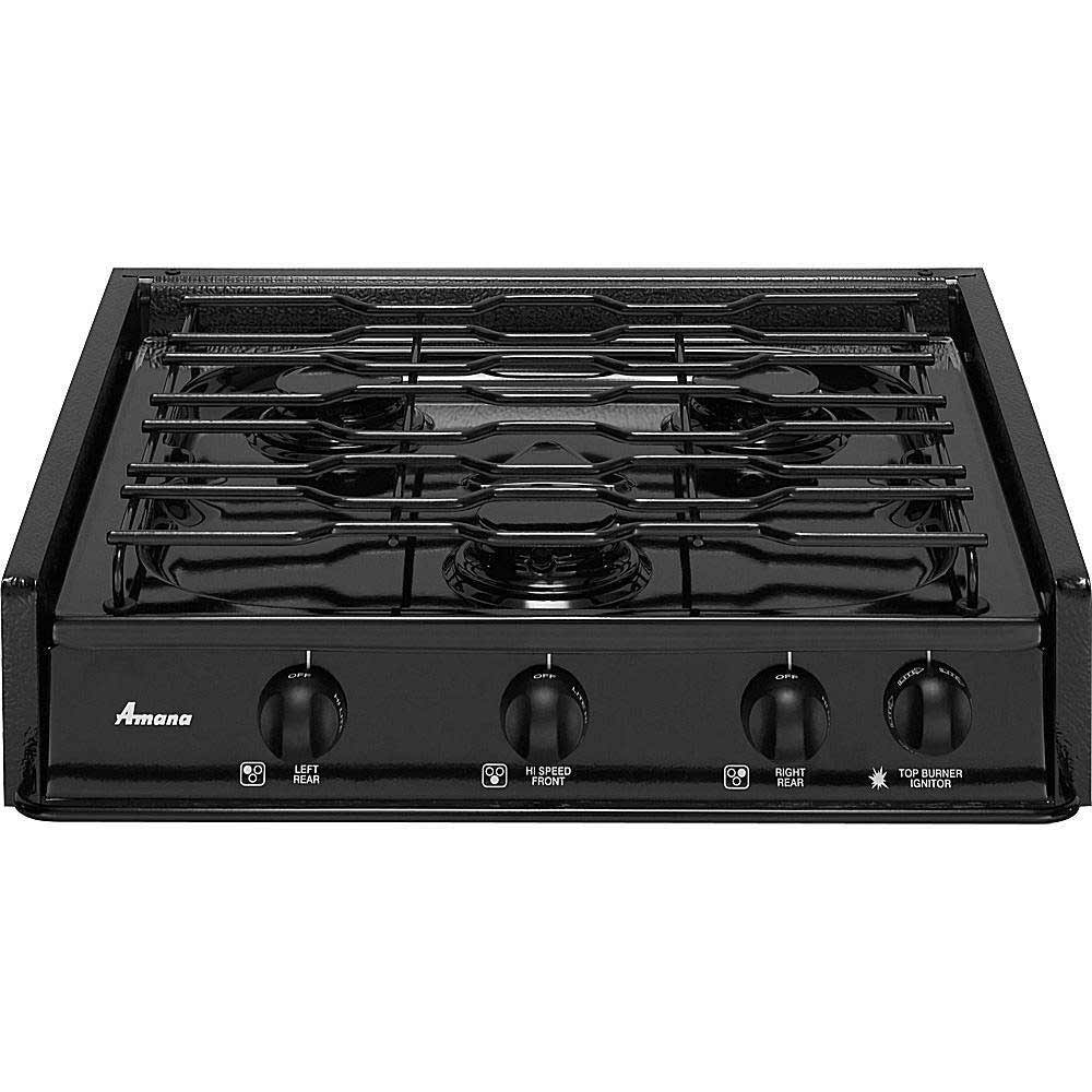 Amana traditional black home gas cooktop ranges