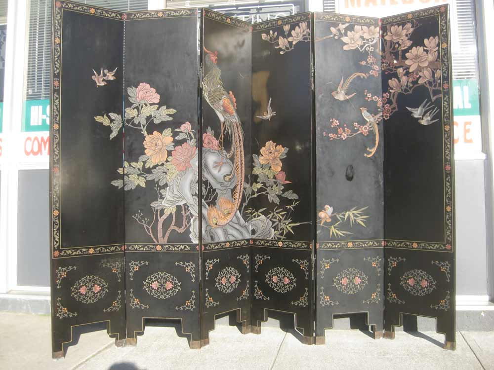 Antique Chinese Portable Room Dividers with Six Panel