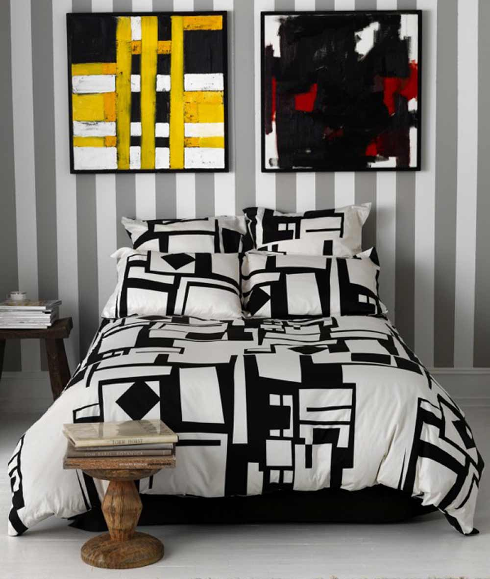 Artistic modern black and white bed comforters
