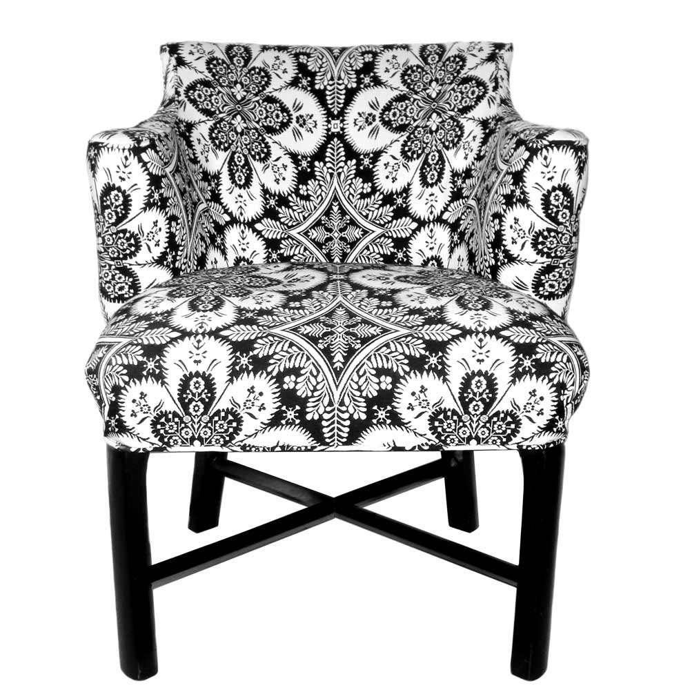 Black and white allover print pattern chairs