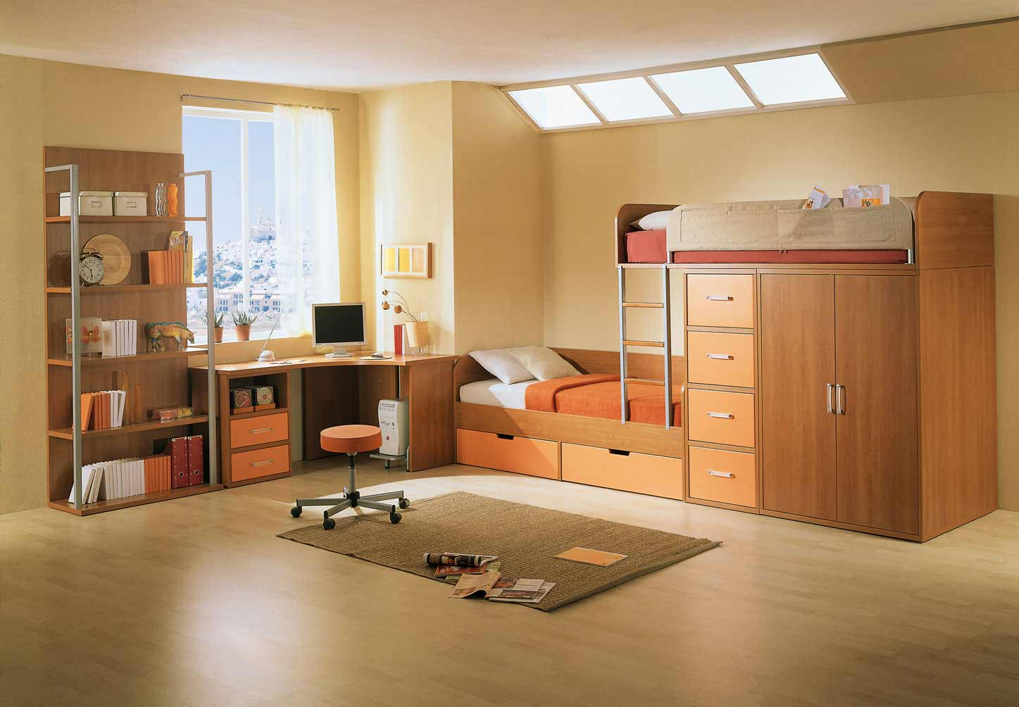 Elegant kids bedroom with drawer and study desk