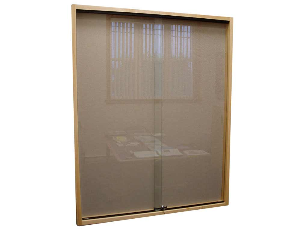 Glass sliding door with wood frame
