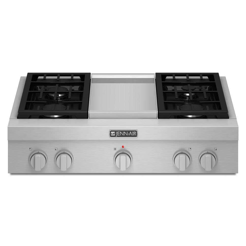 Jenn-air white home gas cooktop with four sealed burners