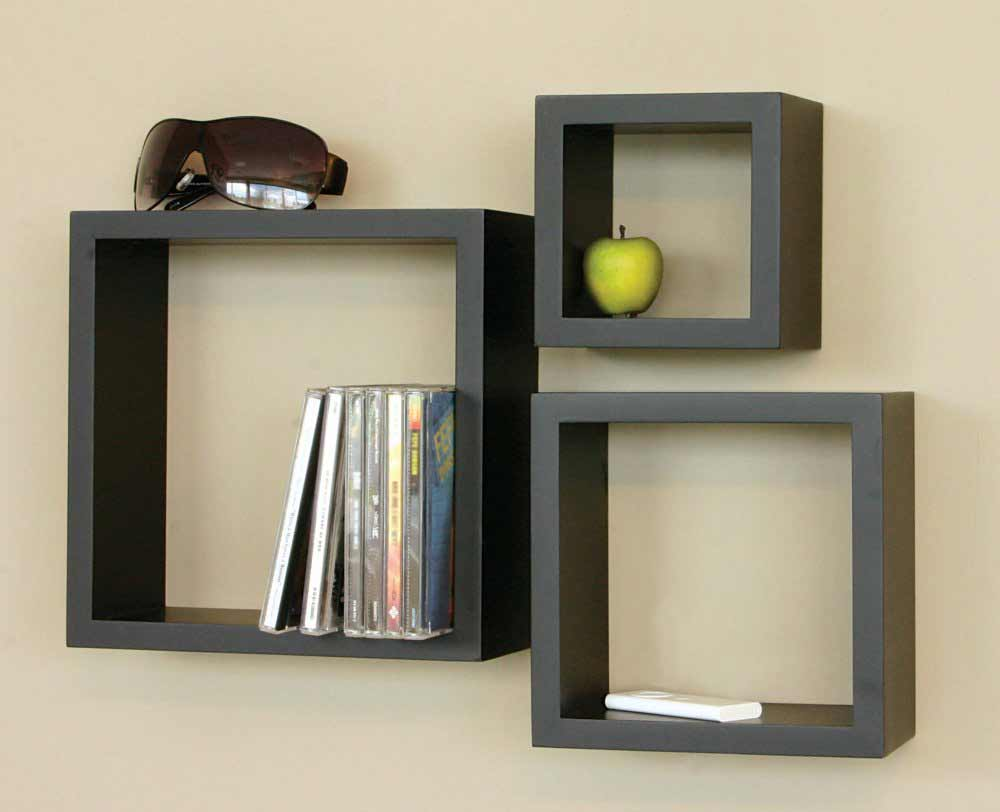 Leaning three segment Wooden Wall Shelf