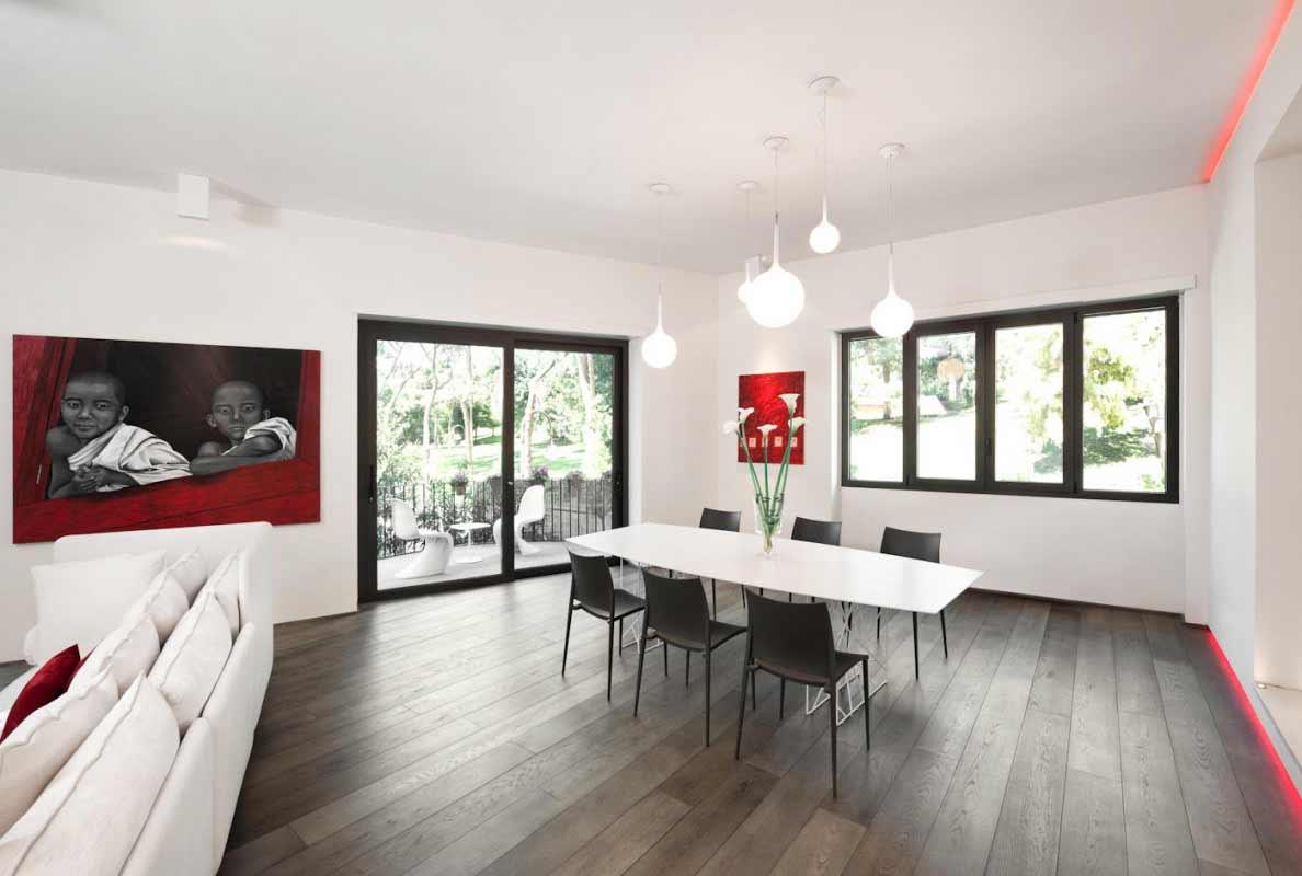 Modern dining table set with circular light bulb
