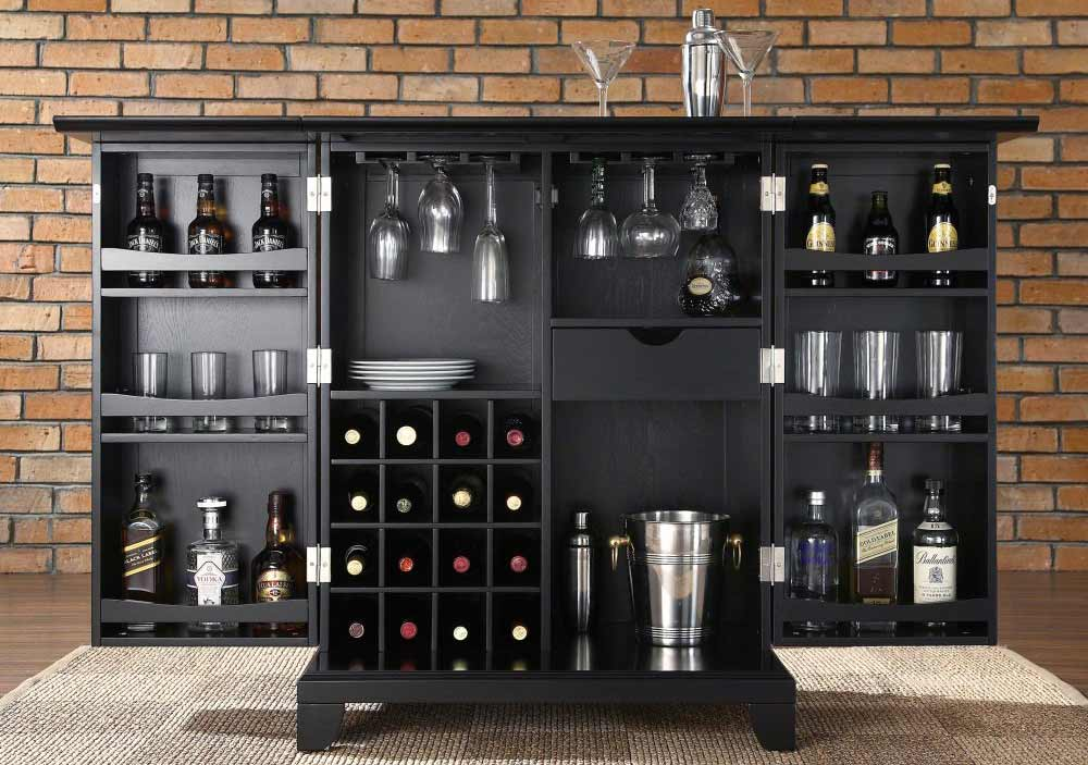 Newport Black Expandable Home Bar Cabinet Sets