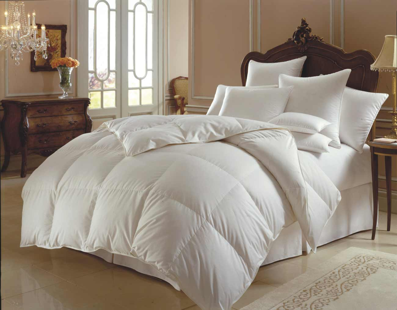 Oversized White Down Comforter in King Size