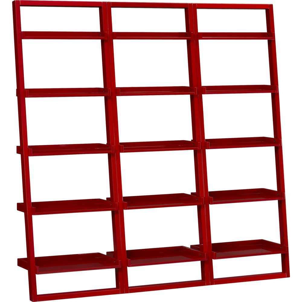 Sloane Crimson Red Leaning Bookcases Sets