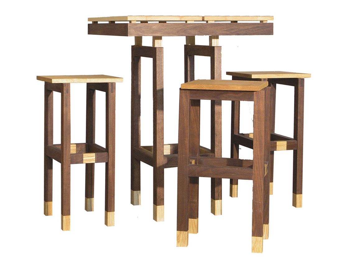 Stylish traditional wooden bar height table and chairs