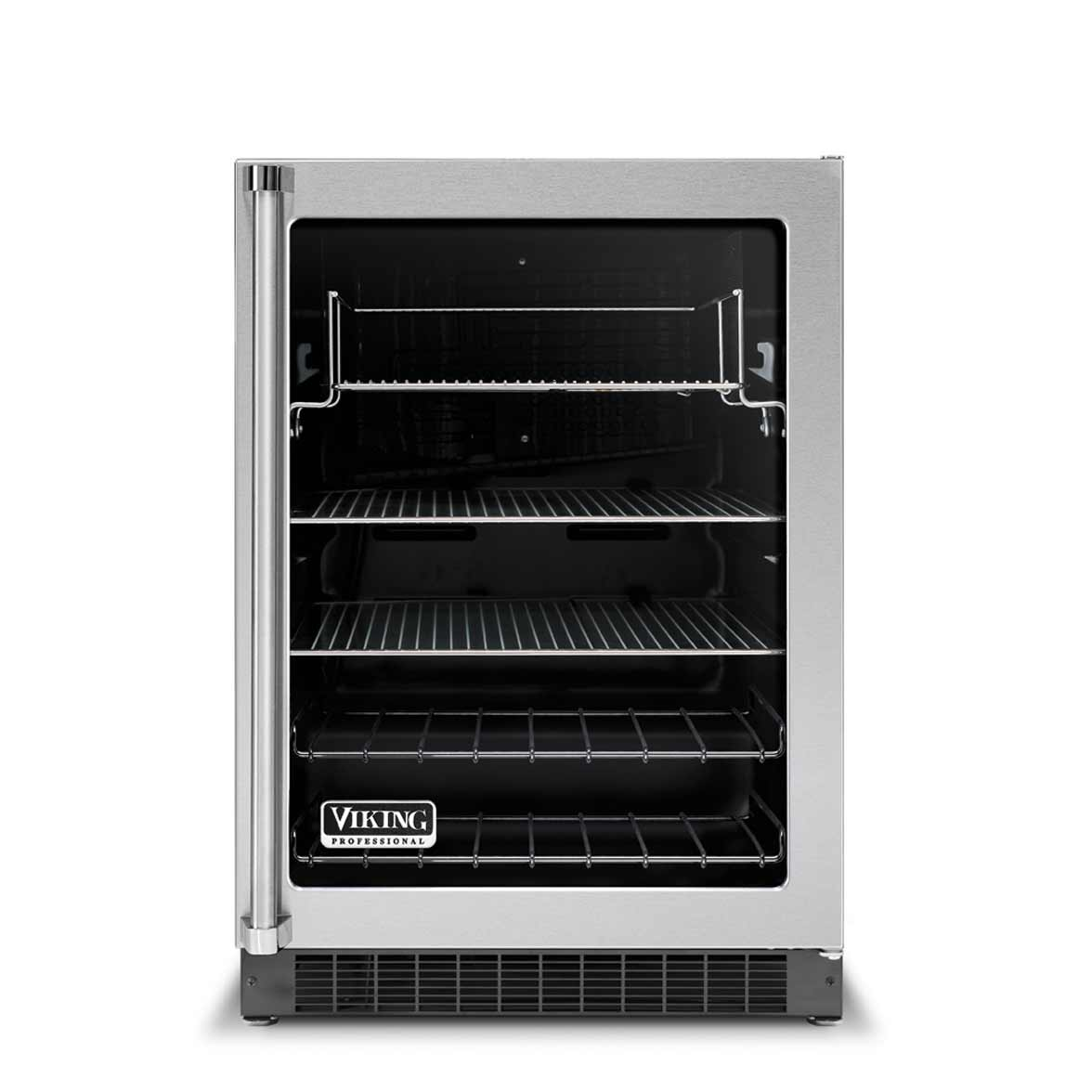 Viking beverage refrigerator glass door center