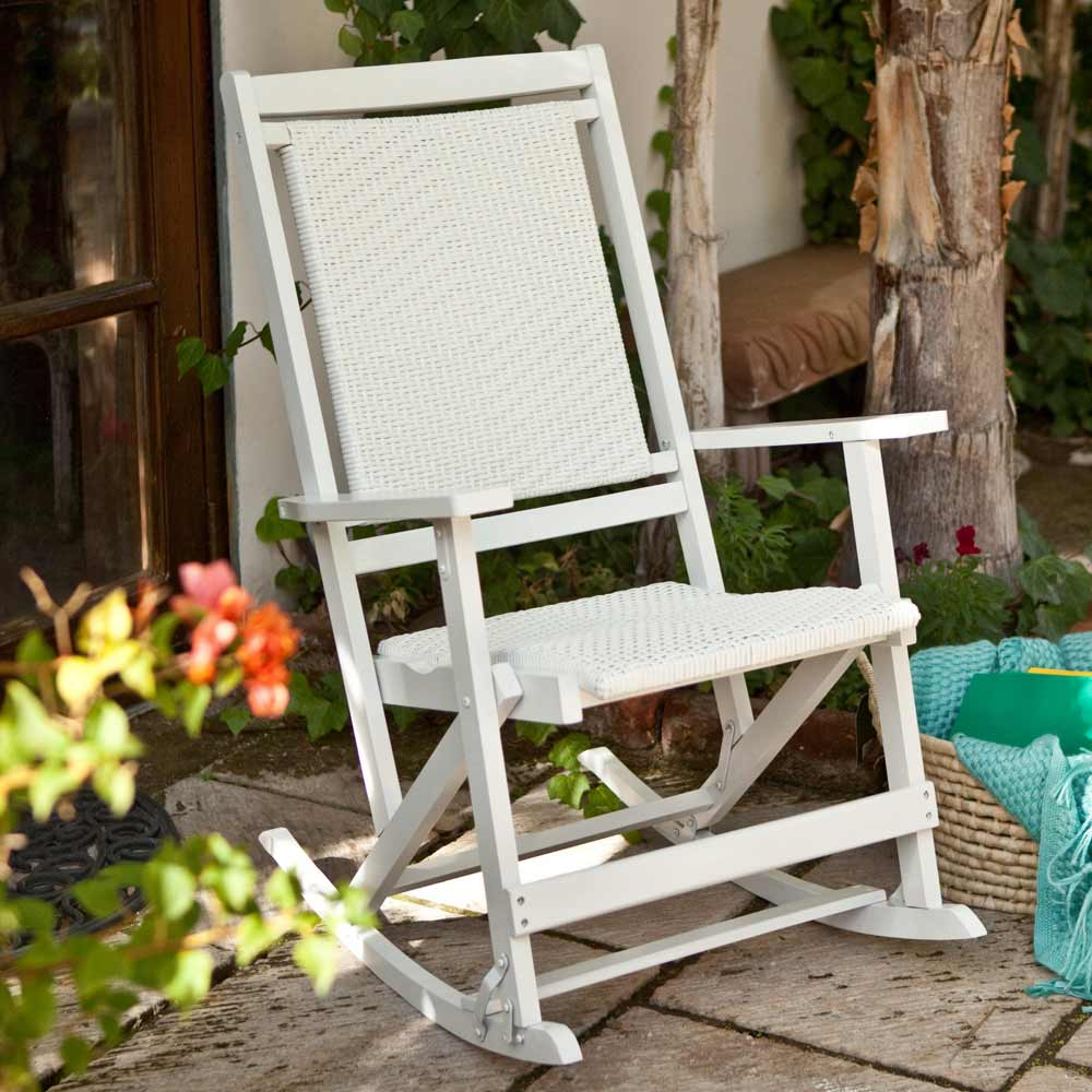 Willow Bay White Resin Wicker Folding Rocking Seat