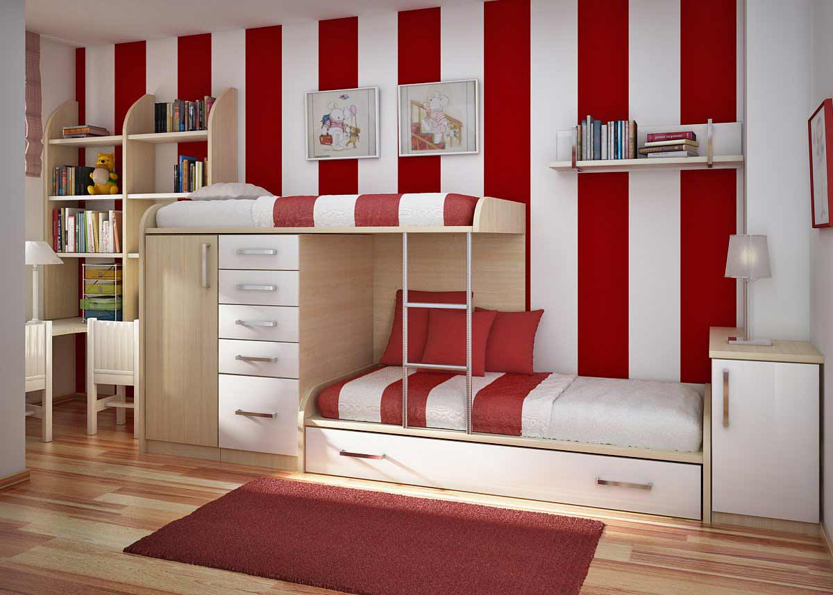 cool teenagers bedroom with bottom storage
