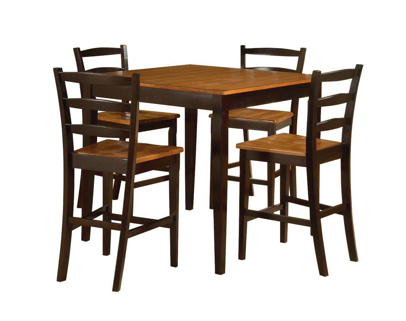 counter height table with four ladder back chairs