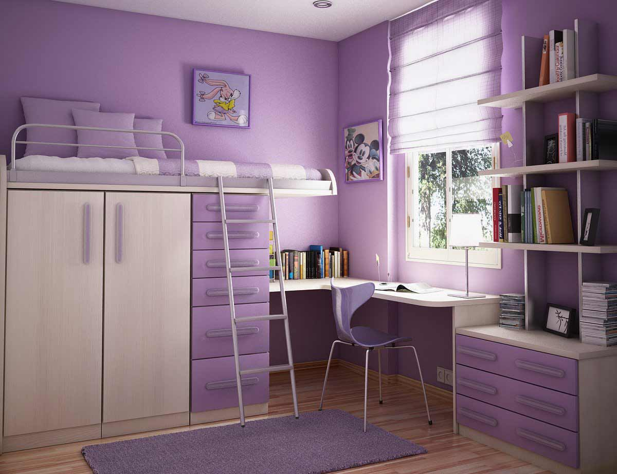 purple kids bedroom for small room