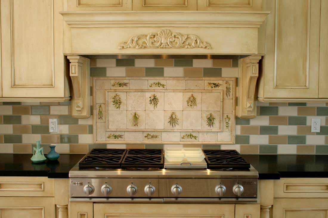 summer garden style kitchen backsplash tile