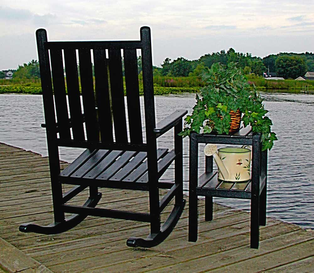 traditional black wooden rocking lawn chairs and tables