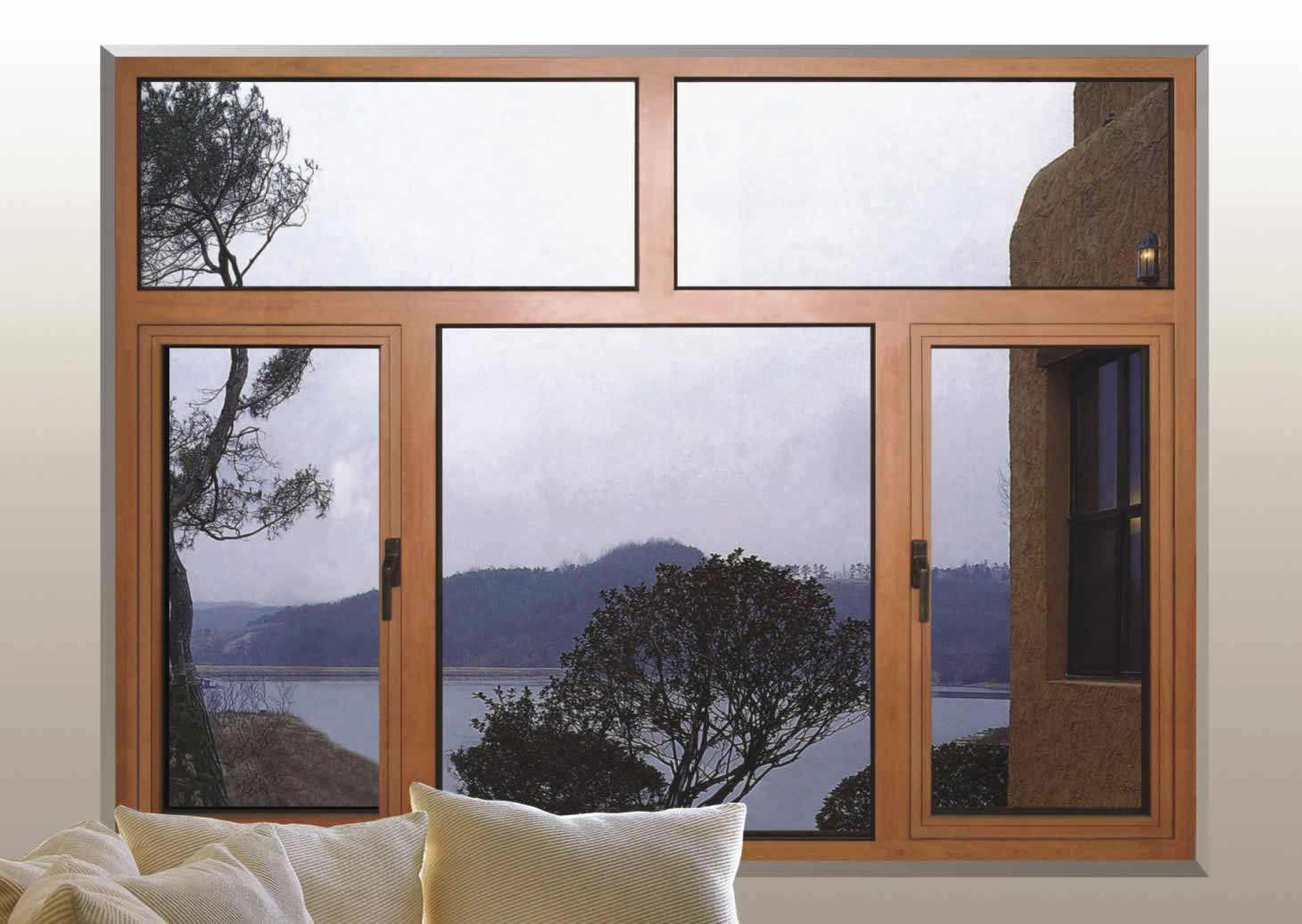 wood and aluminum casement windows