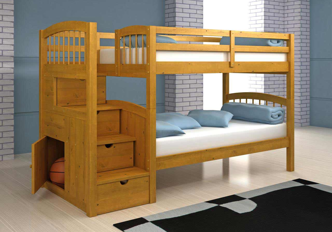 Arch Spindle Four Stair Bunk Bed