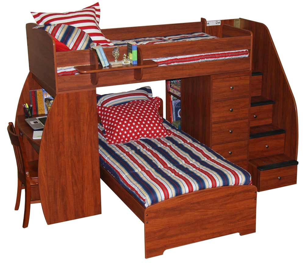 Berg Sierra twin bunk beds with steps and desk