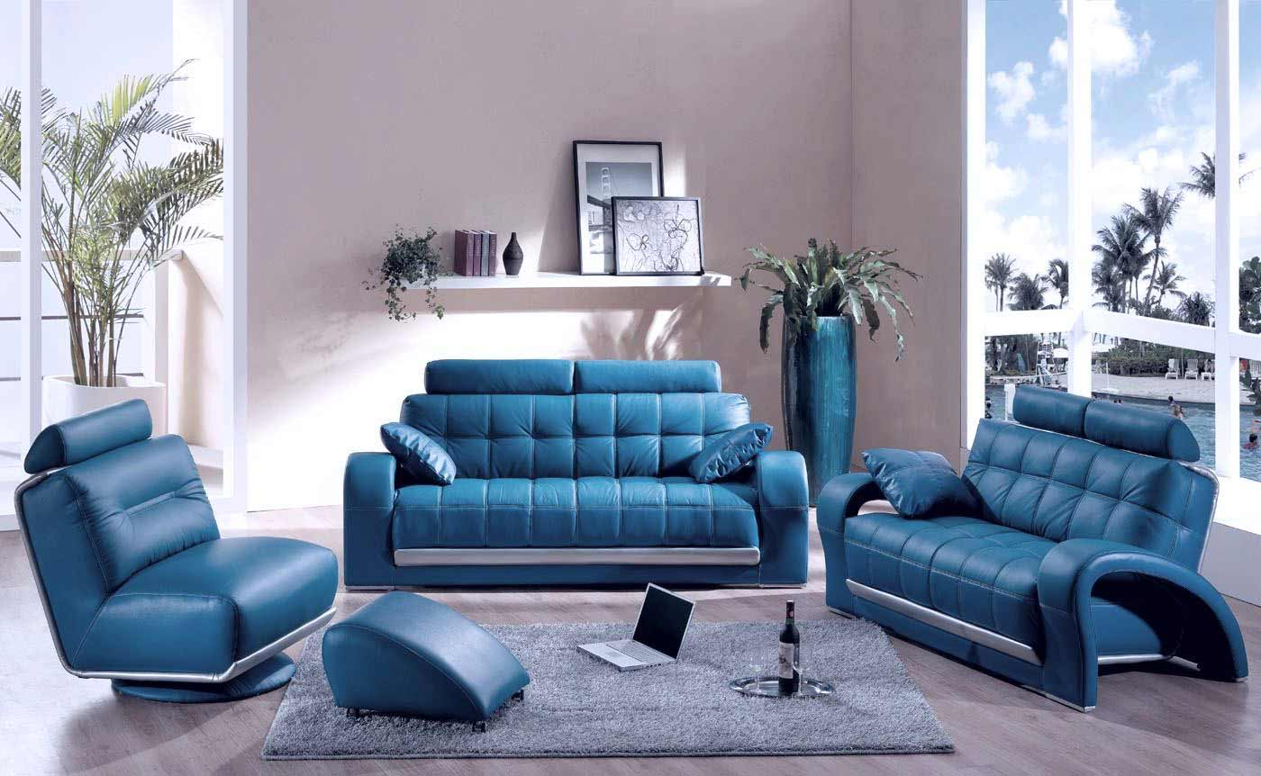 Blue couches decor for living room for Family room leather furniture