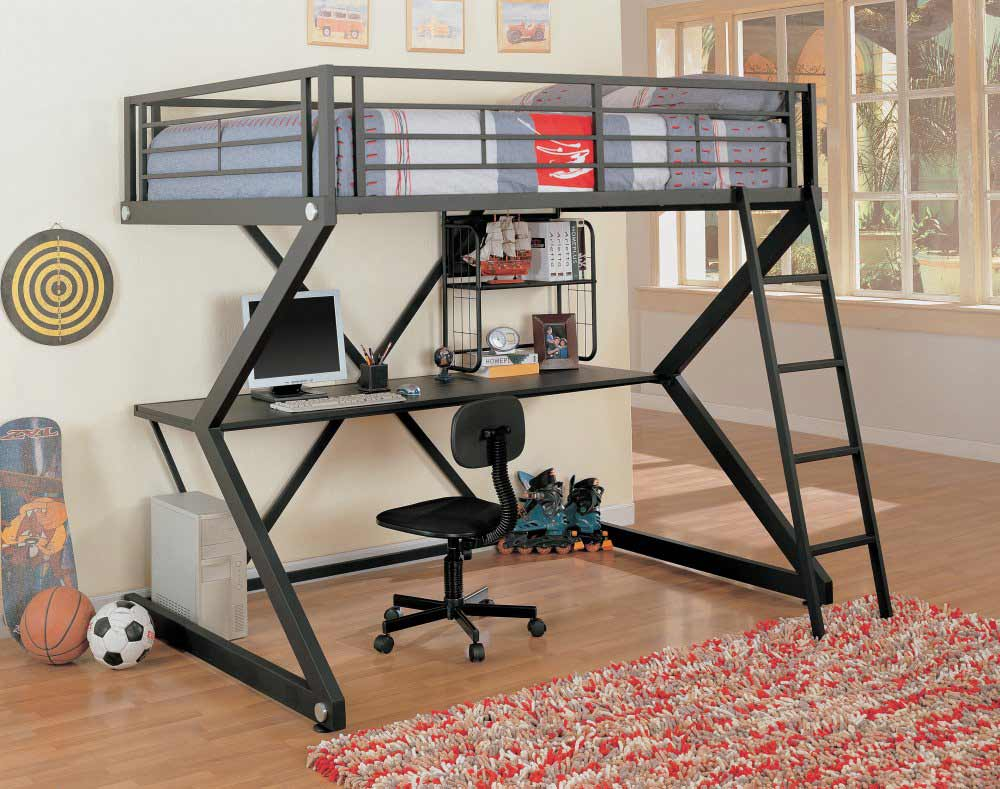 Coaster Cool Matte Black Teen Loft Bunk Bed