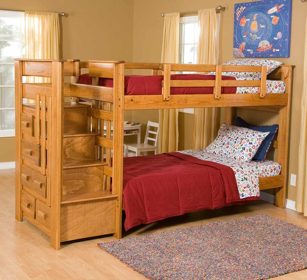 Heartland Twin Over Bunk Bed with Storage and Stairs