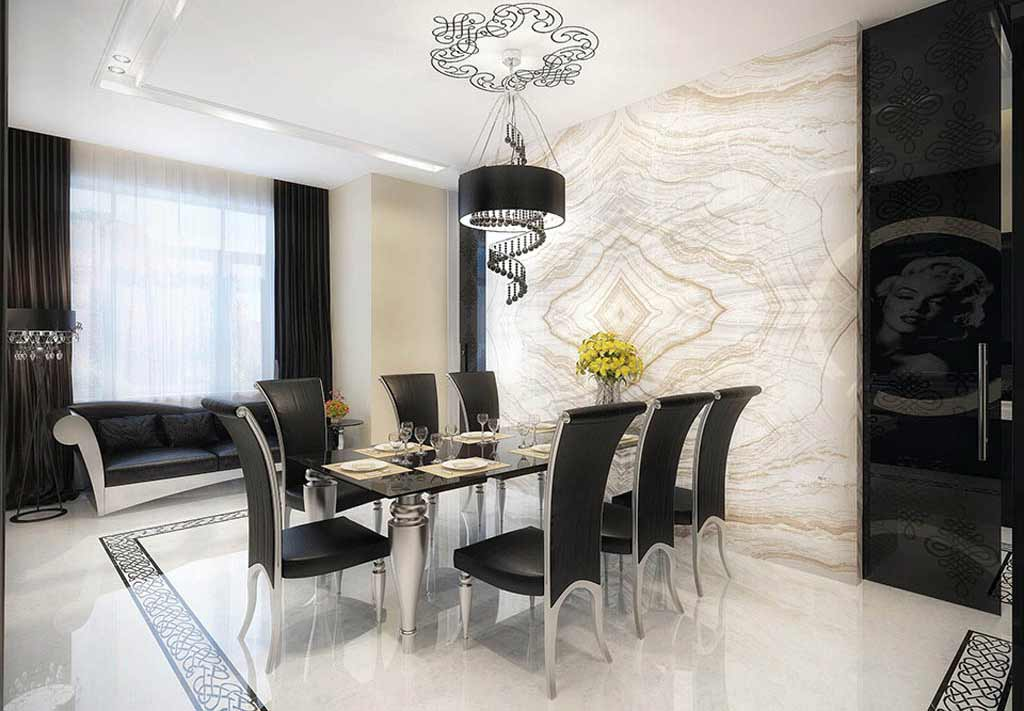 Marble black glass dining room table and chair