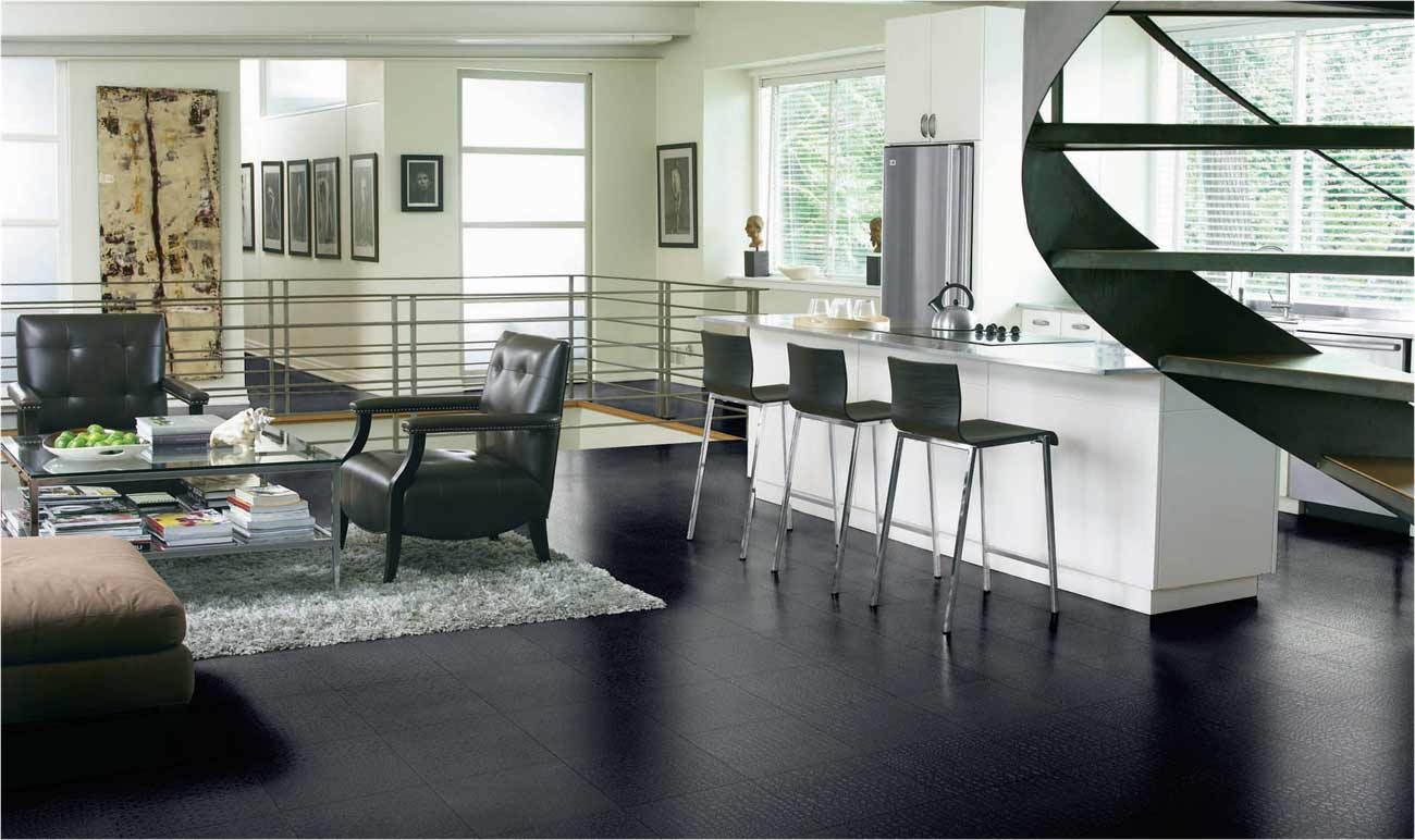 Do It Yourself Home Design: Black Tile Flooring For Elegant Look