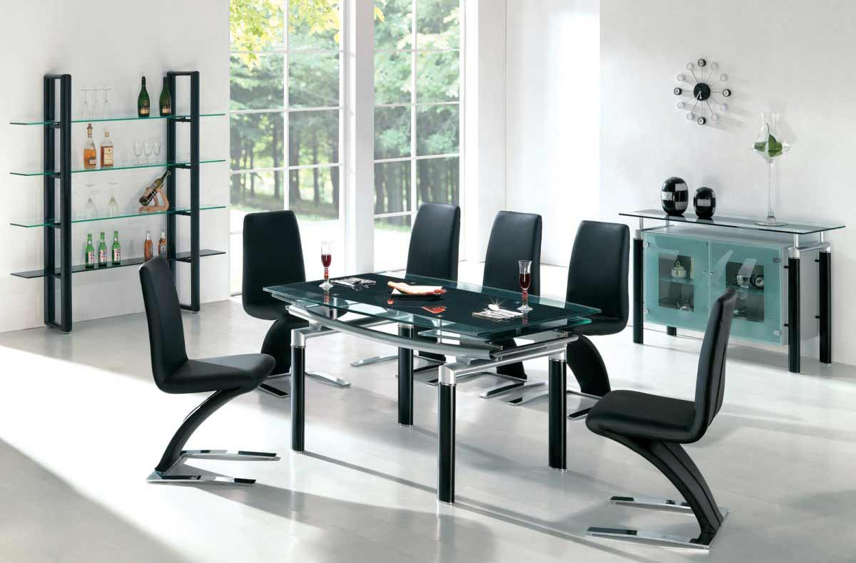 Sleek and elegant black dining room sets