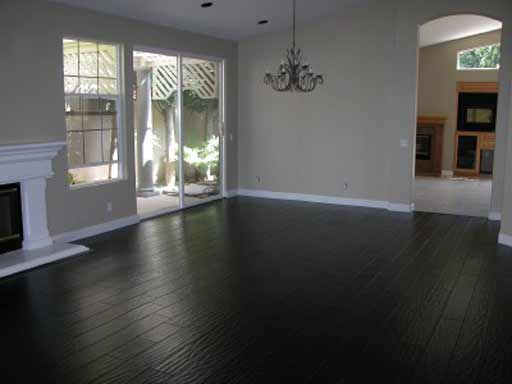 Solid black hardwood home floor