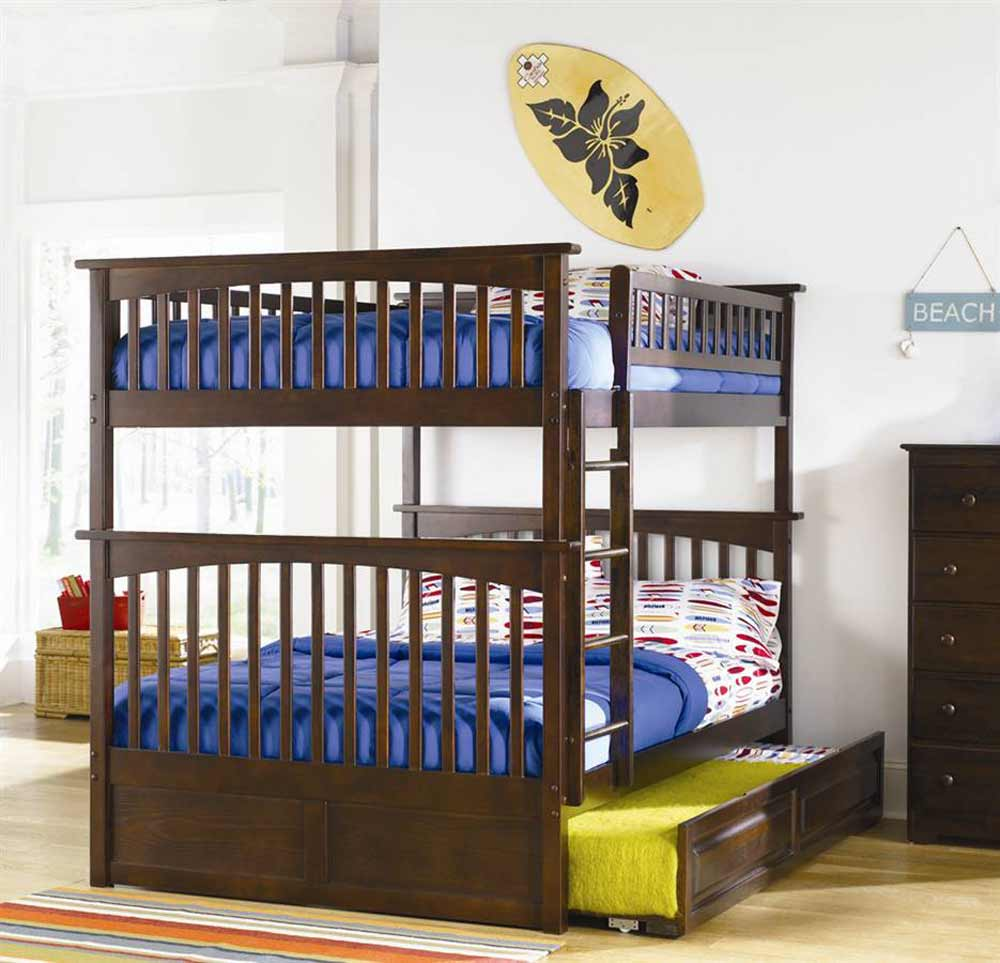 Triple adults bunk beds in solid wood