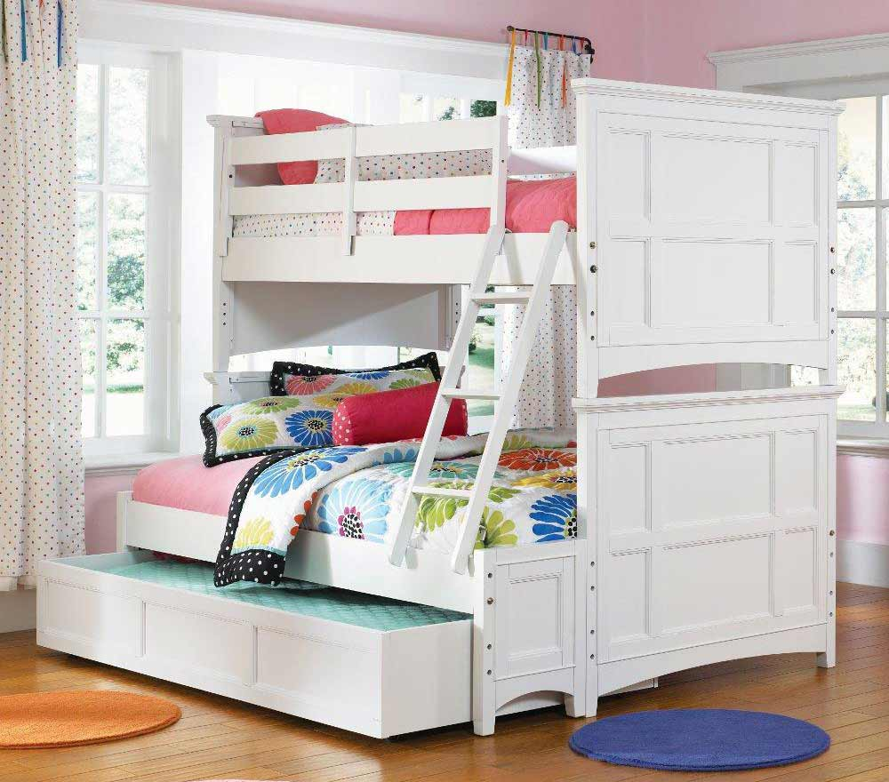 Triple white bunk beds with stairs