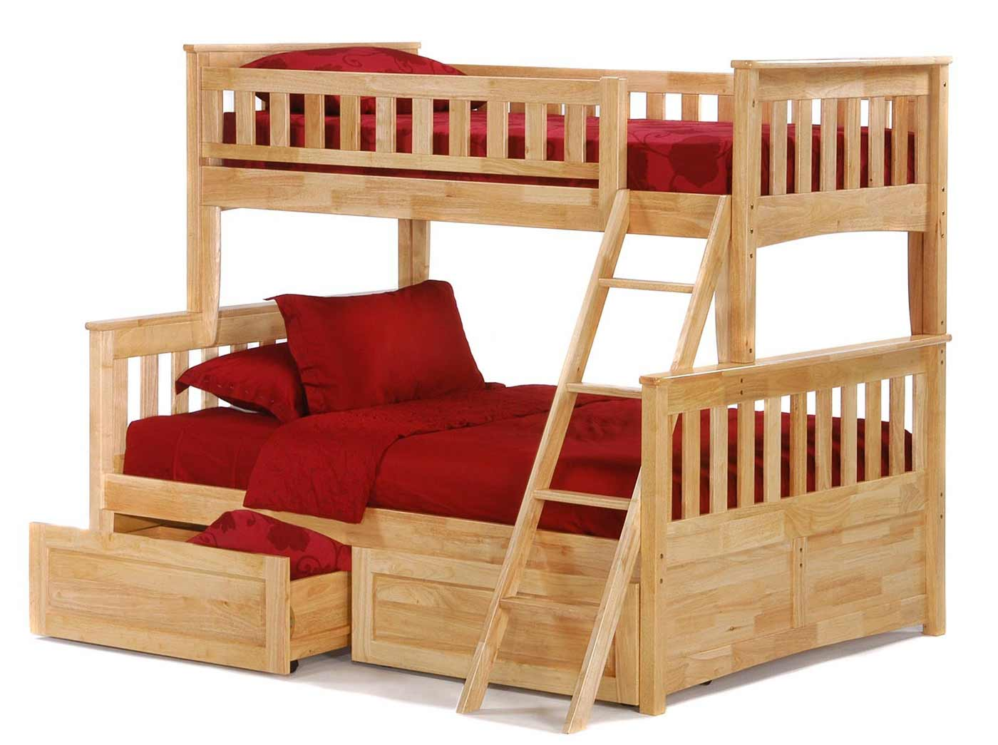 Twin Over Full Size Red Accent Bunk Beds