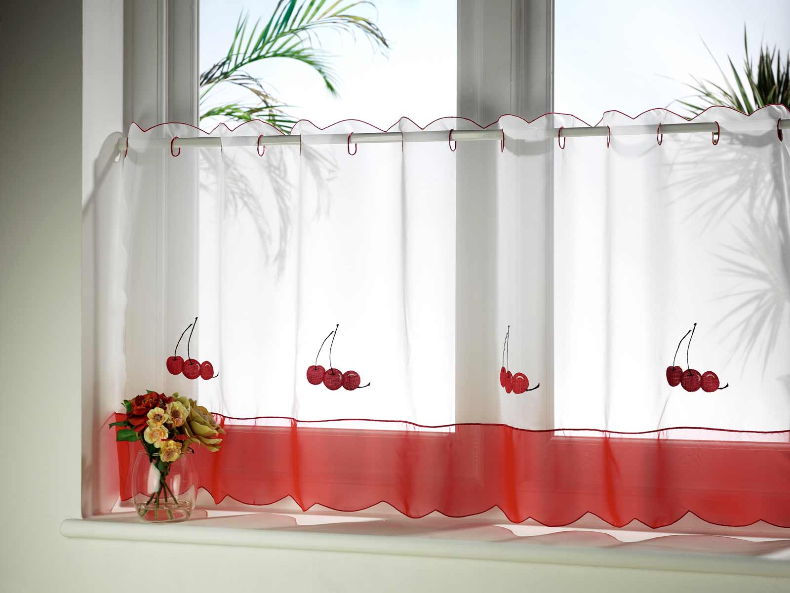 red cheery Kitchen Curtain Idea