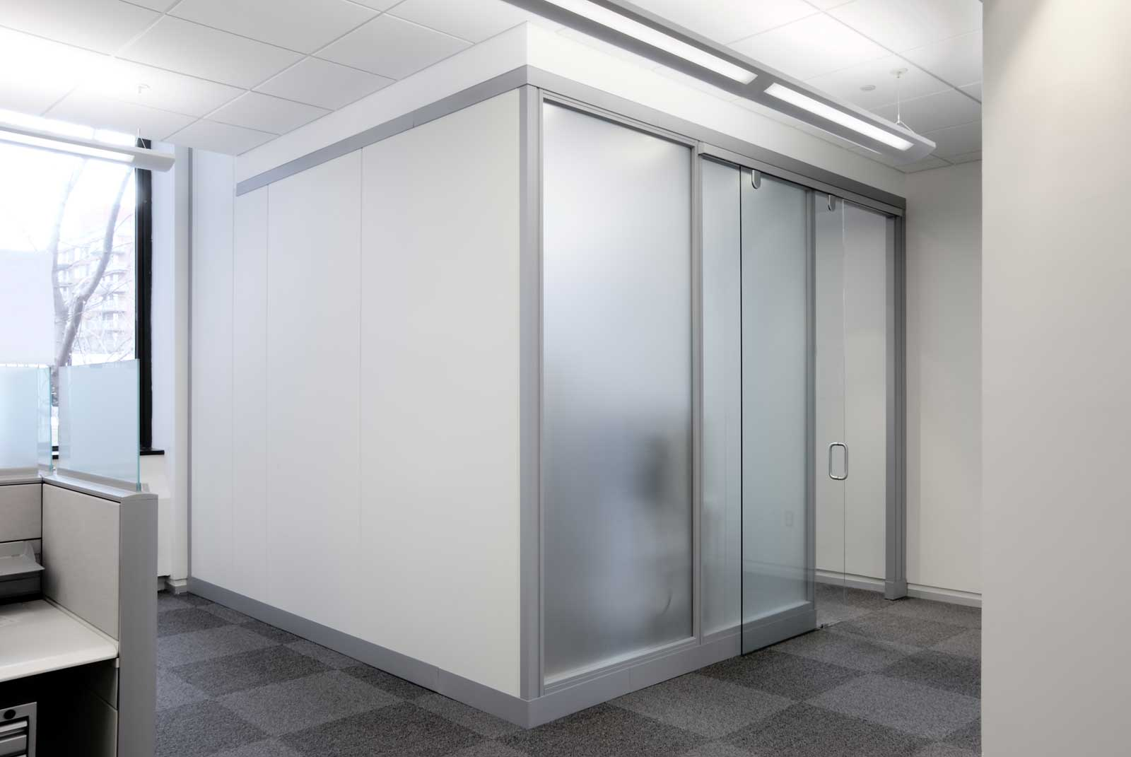 contemporary sliding frosted glass wall panel system