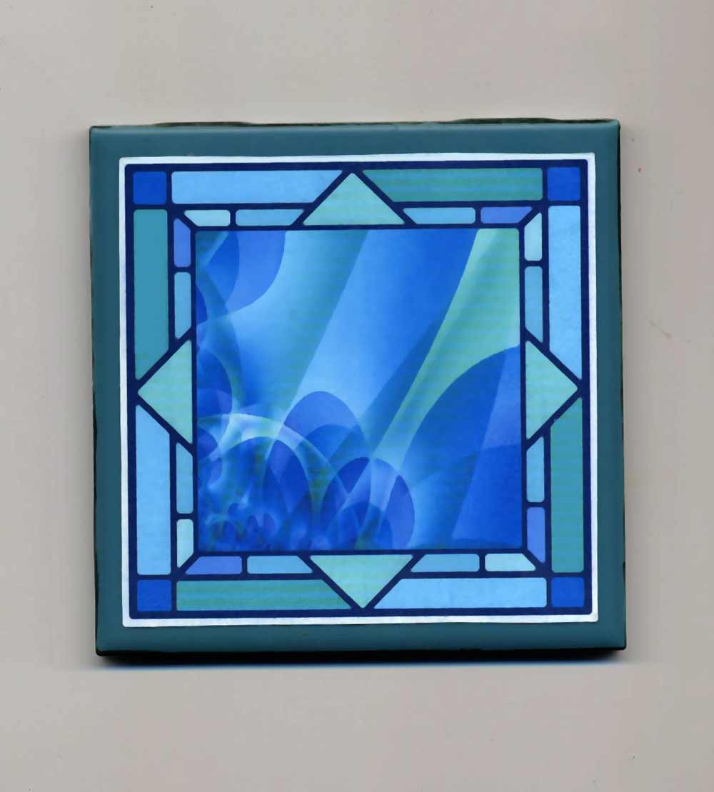 mosaic blue ceramic tile in green frame