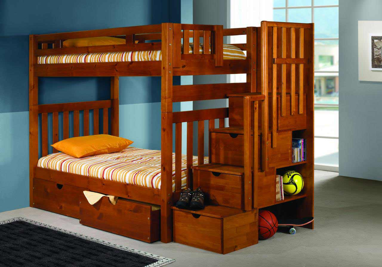 wooden bunk beds with steps and functional drawer