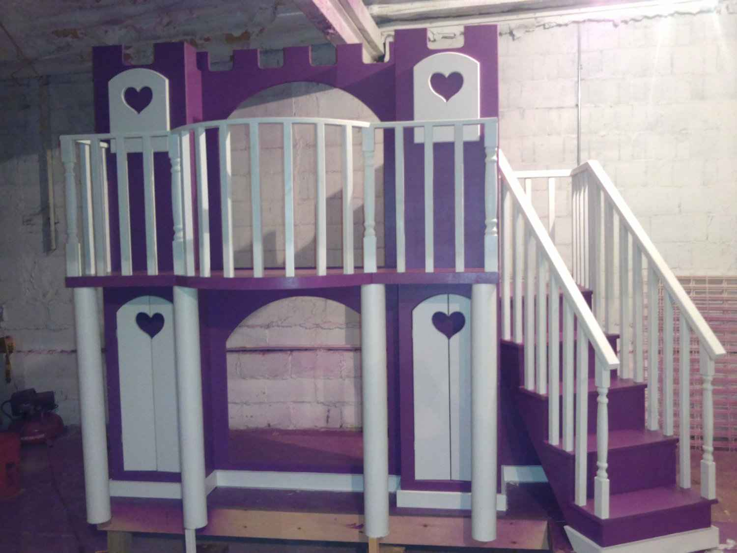 Ashley21c Custom Purple Girls Castle Bunkbeds