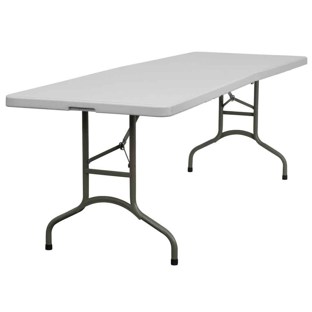 Bi-Fold Plastic Portable Table in White