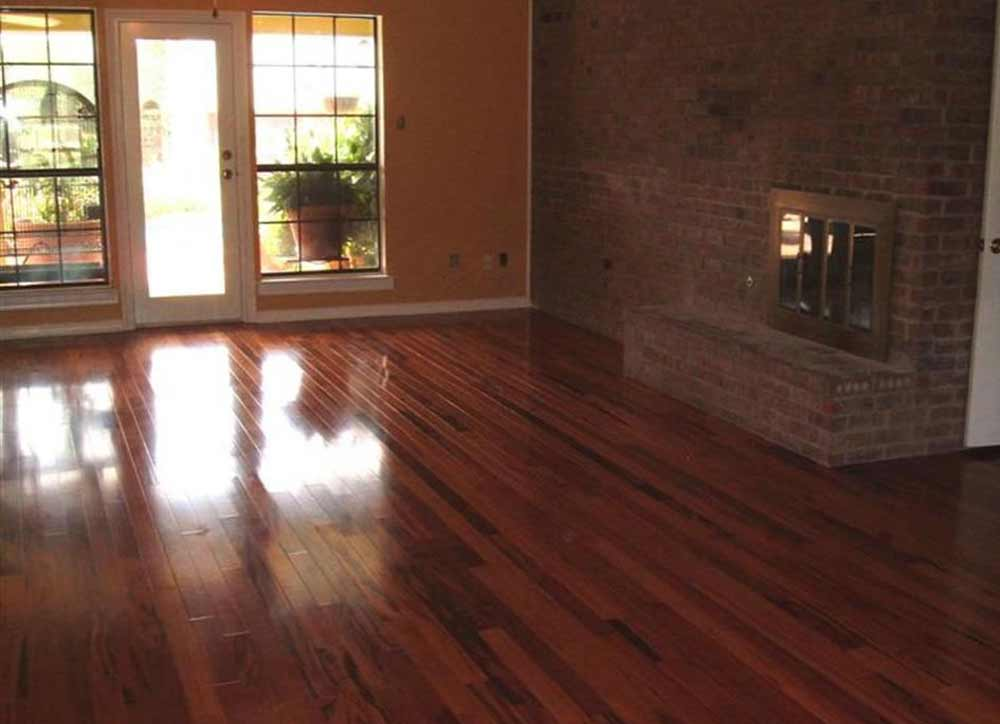 living room with cherry wood flooring