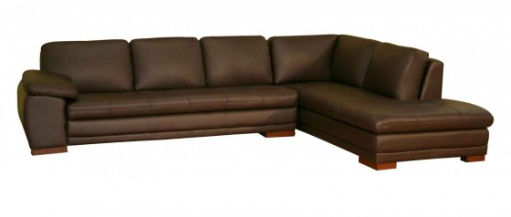 Brown Leather Corner Sofa from Baxton Studio