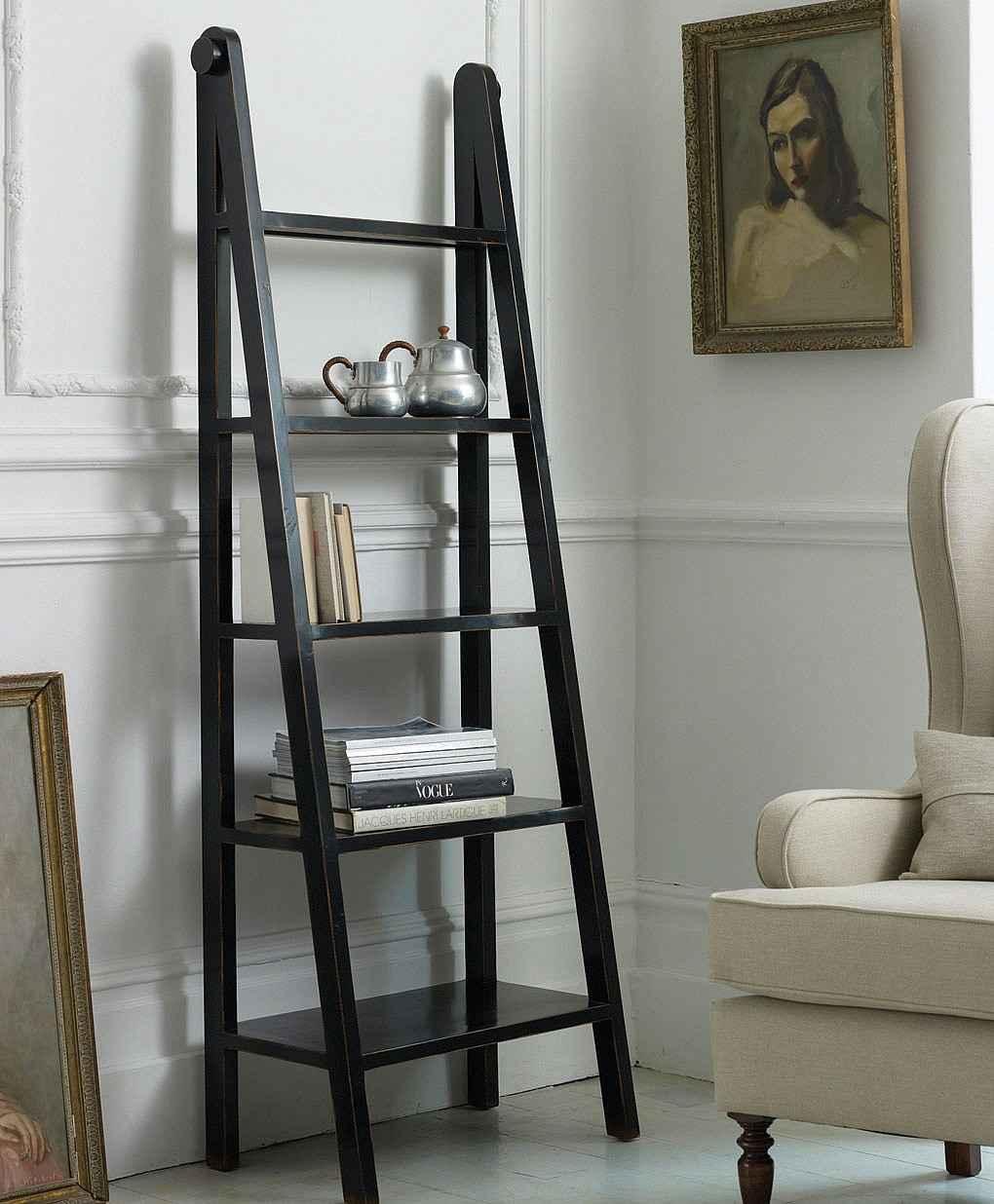 Canton Black Lacquered Ladder Signature Bookcases